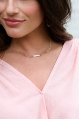 Gold - Pearl Bar Necklace