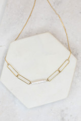 Gold - Pearl Bar Necklace from Dress Up