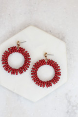 Flat Lay of the Beaded Statement Earrings