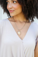 Model wearing the Lion Pendant Necklace