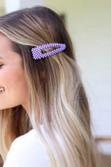 Purple - Beaded Hair Clip