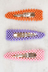 Orange - Flat Lay of all 3 of the Beaded Hair Clips