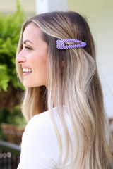 Model wearing the Beaded Hair Clip in Purple