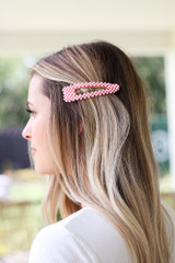 Model wearing the Beaded Hair Clip in Pink