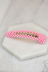 Flat Lay of the Beaded Hair Clip in Pink