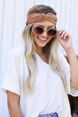 Camel - Model wearing the Knotted Headband