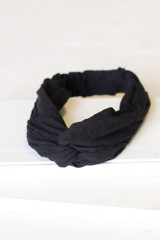 Black - Flat Lay of the Knotted Headband on white