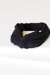 Black - Flat Lay of the Knotted Headband on a white background
