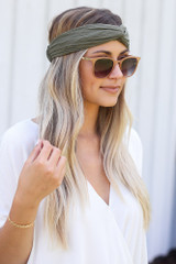 Model wearing the Knotted Headband in Olive