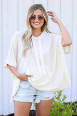 Oversized Hoodie in Ivory Front View