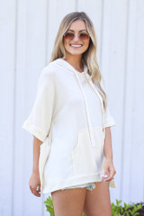 Oversized Hoodie in Ivory Side View