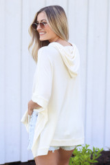 Oversized Hoodie in Ivory Back View