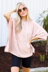 Oversized Hoodie in Blush Front View