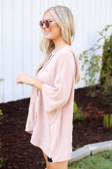 Oversized Hoodie in Blush Side View