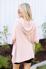 Oversized Hoodie in Blush Back View