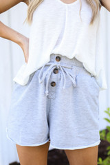 Heather Grey - Close Up of the Button Front Shorts