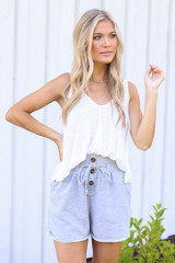 Heather Grey - Model wearing the Button Front Shorts