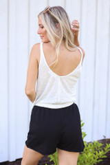 Button Front Shorts in Black Back View