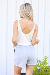 Button Front Shorts in Heather Grey Back View