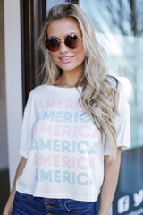 White - America Graphic Tee from Dress Up