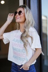 Model wearing the America Graphic Tee