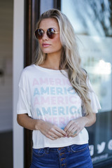 Dress Up Model wearing the America Graphic Tee