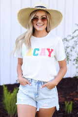 White - Vacay Graphic Tee from Dress Up