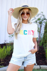 Model wearing the Vacay Graphic Tee