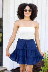 cute tiered skirt at dress up styled with white strapless bodysuit
