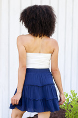 back view navy swing skirt at dress up boutique