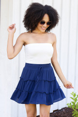 tiered navy skirt at shopdressup