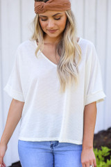 Ivory - Textured Oversized Top