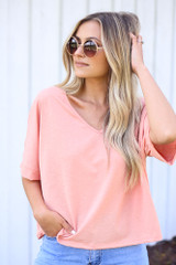Coral - Textured Oversized Top