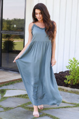 Teal - Ruffled Maxi Dress from Dress Up