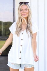 White - cute button front top