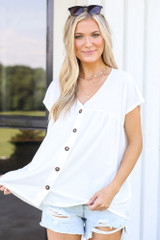 White - Button Front Babydoll Top