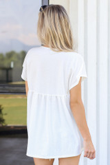 back view cute white babydoll top