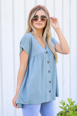 side view cute Button Front Babydoll Top in denim