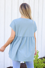 back view Button Front Babydoll Top in denim