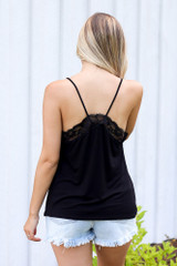 Lace Tank in Black Back View