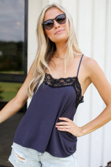 Lace Tank in Denim Front View