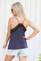 Lace Tank in Denim Back View