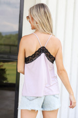 Lace Tank in Lavender Back View