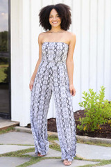 Model wearing the Snakeskin Strapless Jumpsuit
