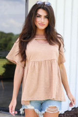 Camel - cute oversized babydoll top from dress up
