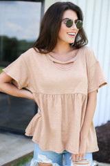 oversized babydoll top in camel