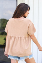 back view oversized babydoll top in camel from dress up
