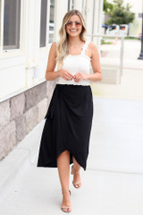 Black - cute wrap midi skirt at dress up