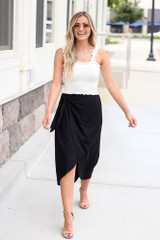 Model wearing the Wrap Midi Skirt