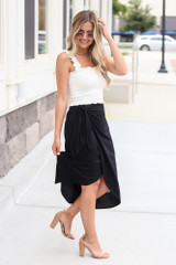 Wrap Midi Skirt in Black Side View
